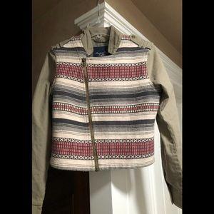 American eagle cropped tapestry/khaki jacket